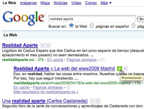 Captura de los resultados de Google donde aparece la opción promocionar