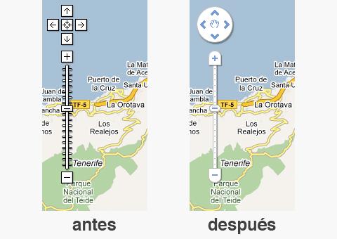 Interfaz Google Maps antes y después